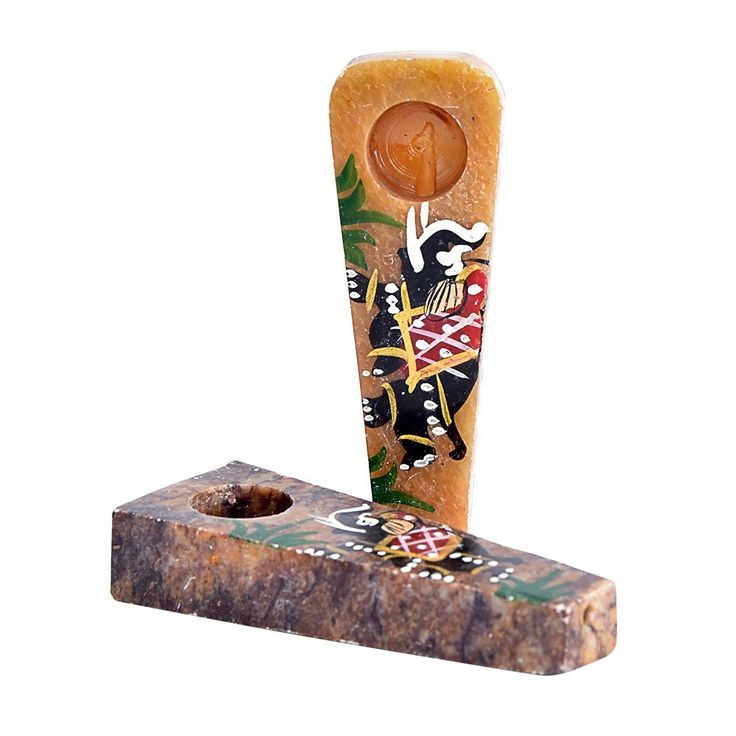 """Indian Elephant Onyx Hand Pipe // Price: $13.99 // These assorted 3"""" Indian Elephant Onyx Hand Pipes instantly give you a feeling of karmic victory with a sweet puff of euphoric smoke. Carefully crafted from onyx, each of these hand pipes features beautifully painted, vibrantly colored elephant designs. In many Asian countries, elephants aren't just seen as a symbol of good luck and fortune but as a representative of ... #coolpipeIndian Elephant Onyx Hand Pipe"""