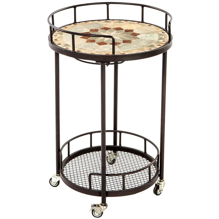 """Notre Dame 20"""" Round Marble Mosaic Outdoor Serving Cart with Wine Holders"""