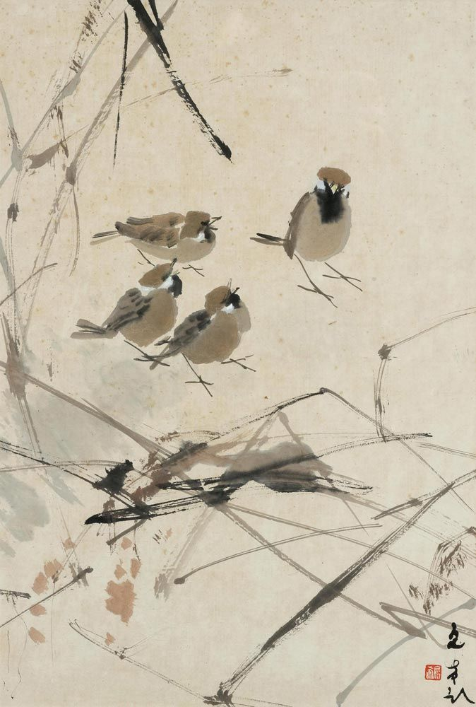 Chen Wenxi (Chinese, 1906-1991) Four Sparrows, N/D   Ink and color on paper,   42x28,5 cm