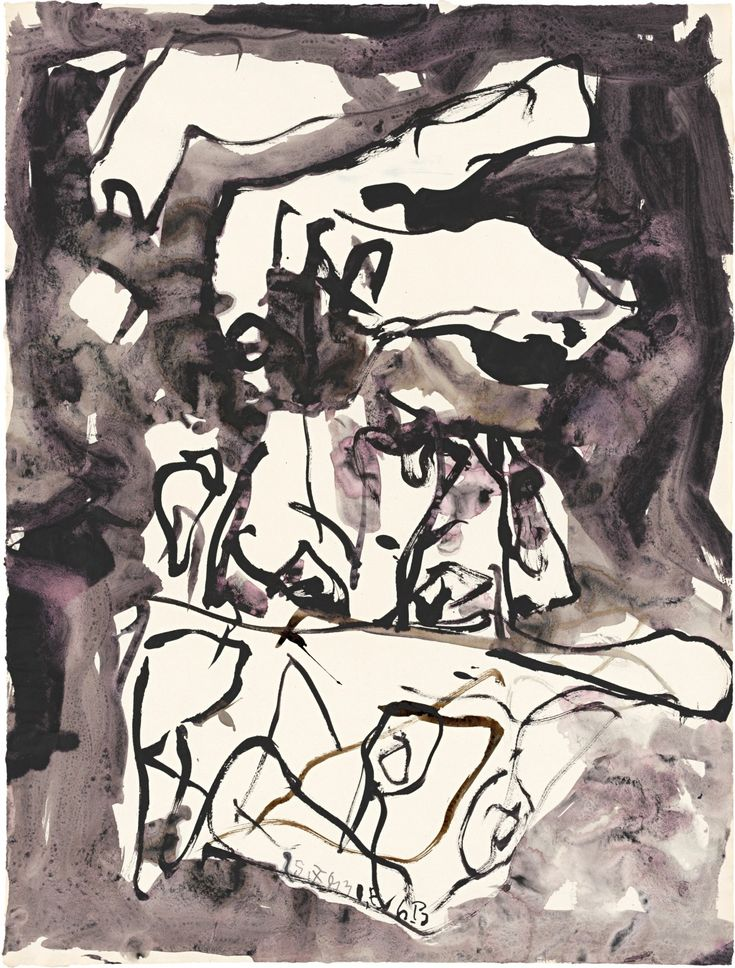 Untitled, 2013, India ink and watercolor on paper, 26 x 19 13/16 inches / 66.1 x 50.3 cm (unframed) © Georg Baselitz. Photo Jochen Littkemann. Courtesy Gagosian Gallery