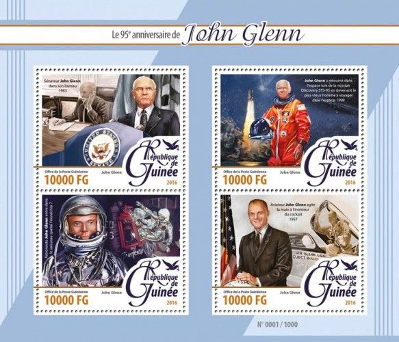 GU16112a John Glenn (95th anniversary of John Glenn, senator John Glenn in his office, 1983; John Glenn returned to space at the Discovery STS-95 mission and became the oldest man to travel in space; John Glenn enters the Friendship 7 spaceship; John Glenn waves the hand inside the cockpit)