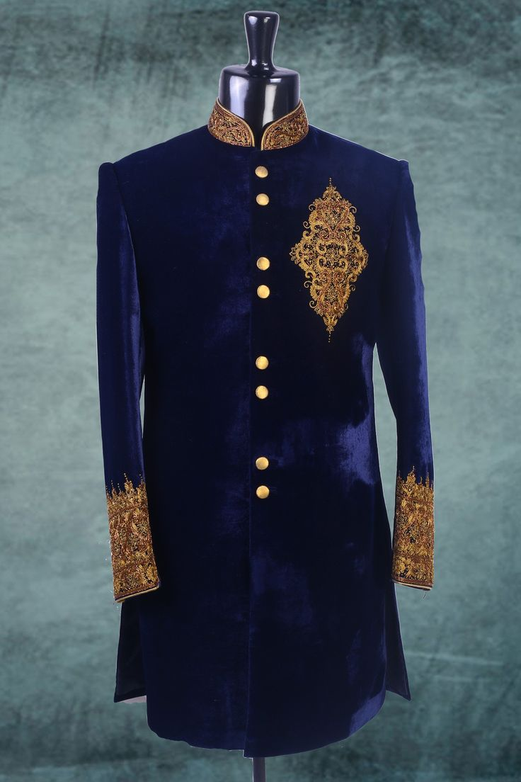 Royal #blue #velvet Zari worked  indo western #sherwani -IW122