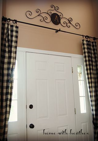 Instead Of Custom Sized Wood Blinds Curtain Rod Hung Over Front Door