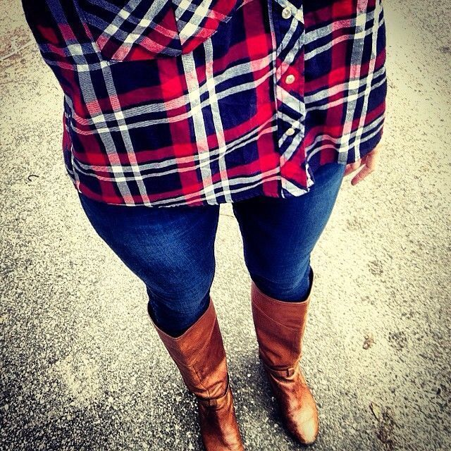 Plaid and tan boots
