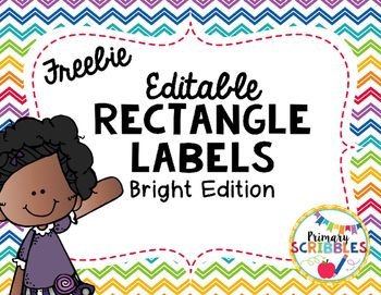This product contains 30 different rectangular labels that can be used as name tags, headers for focus wall, or anything else you need to add a tag or label to.  They are bright and full of primary colors.  I use these in my room for my focus wall, center headers, and student of the day name tags.They are editable and free in my store.