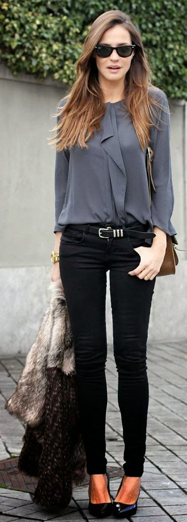 Grey blouse and black skinny jeans, lose the fur!!!!!!!