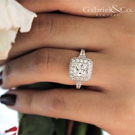 Gabriel NY - Preferred Fine Jewelry and Bridal Brand.. This beautiful 18k White Gold Princess Cut Double Halo Engagement Ring will dazzle on your ring finger like no other. Contemporary style ring with aligned diamonds on the side. Find your nearest retailer-> https://www.gabrielny.com/storelocator