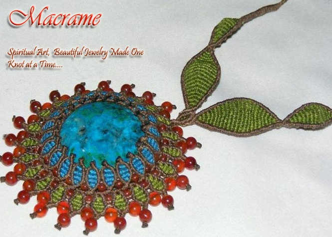 Turquoise Macrame Necklace available at Messenger of the Sun