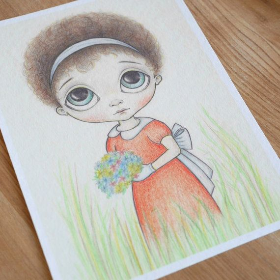 Ode To Ozz Franca ~ 5x7 ~ Fine Art Print ~ Pop Surrealism ~ Big Eyed Drawing ~ By Nicole Clements