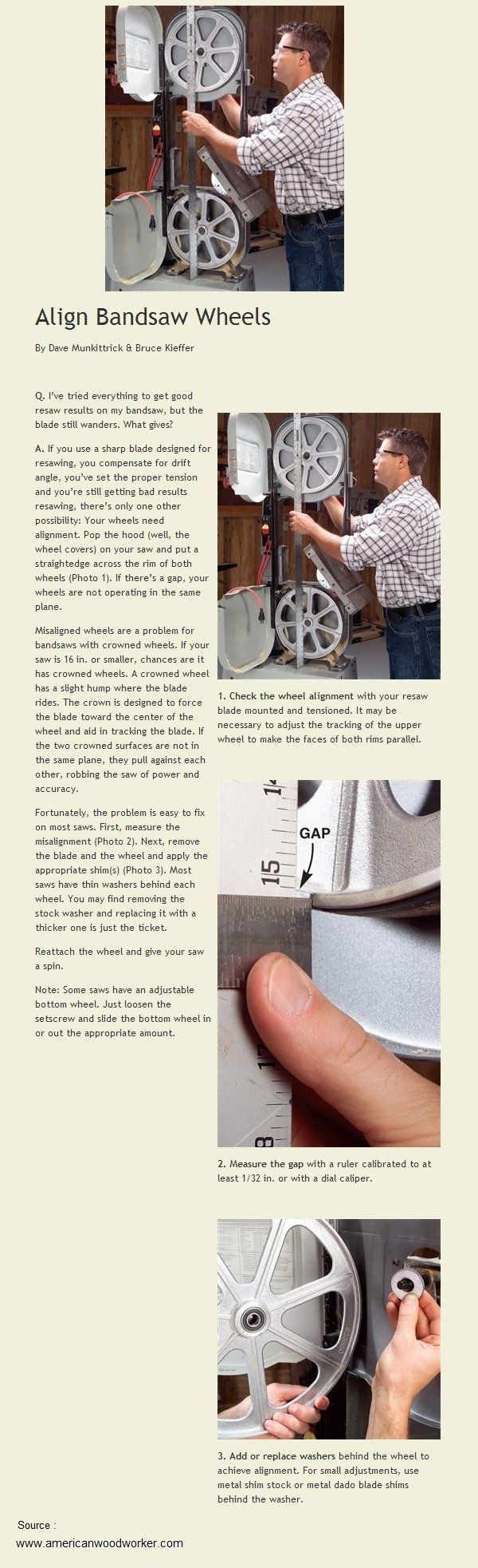 Align Bandsaw Wheels | WoodworkerZ.com