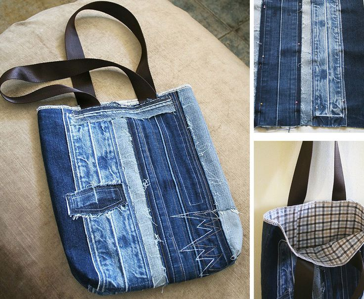 62 best images about riciclo creativo tessuti on pinterest for Borsa jeans tutorial