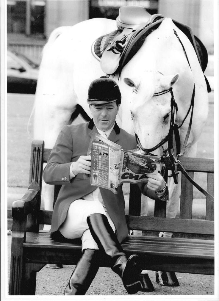 Marius Silver Jubilee, known as 'Milton' (16 February 1977- 4 July 1999), was a grey gelding, 16.2 hands (66 inches; 168cm) high at the withers, shown here with his rider, John Whitaker MBE. Milton achieved many international victories, becoming the first horse outside the racing world to win more than £1 million in prize money. A favourite with the crowd, he often ended a successful round with a leap into the air. After his death, Milton was buried at the Whitaker's Yorkshire farm.