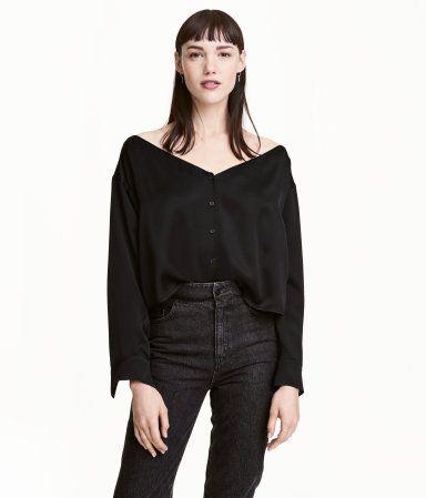 Off-the-shoulder blouse   Black   Ladies   H&M RS