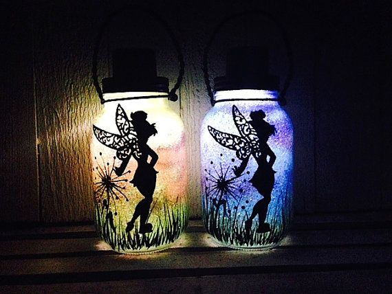 Tinker Bell Fairy Style 1 Day OR Night, Mason Jar Light, Outdoor Solar Light, Hand Painted Mason Jar, Hanging Lantern, Quart Size