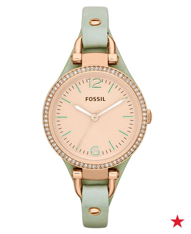 Add a fresh pop of color to your everyday wristwear with this Fossil Leather Strap Watch in Georgia Mint.