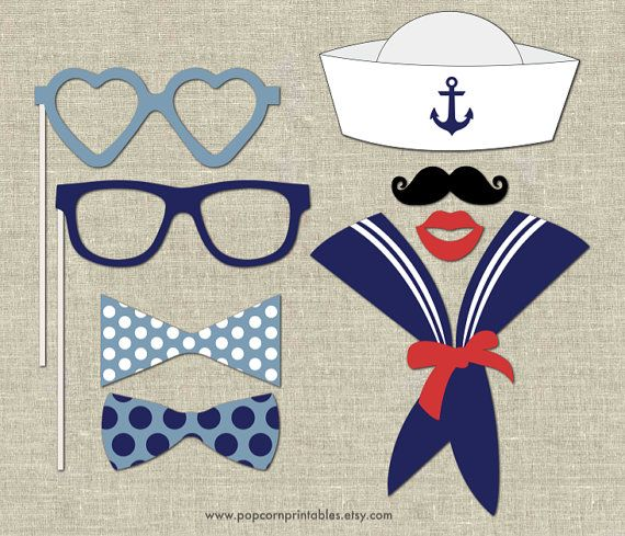 Nautical Photo Booth Props- DIY Instant Download- Adobe Reader-  White & Blue Navy- Stripes- Pink - Ocean Waves - Sail the Sea - Ahoy Matey