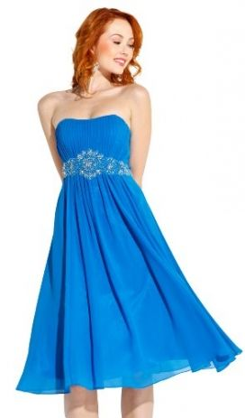 Plus Size Gowns- Strapless Chiffon Goddess Gown Prom Dress Formal Knee-Length Junior