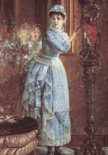La mucama de celeste.  Pintura de Pedro Lira.