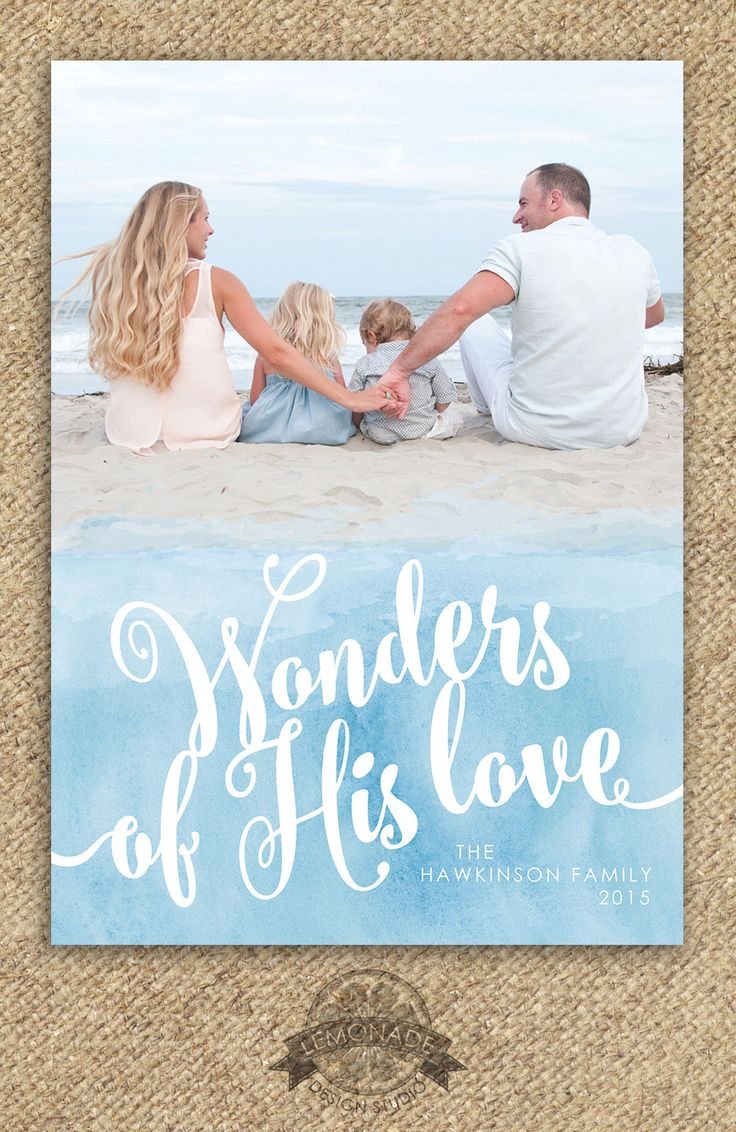 Christian Christmas Cards - Wonders of His Love - Watercolors - Photo Religous Holiday Card - Modern - Printable File - Xmas Photo Card Blue