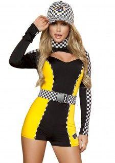 http://www.themakleding.nu/themafeest-kleding/carnavalskleding-online/pitspoes-pit-crew-racer-romper  Set bestaat uit: - Race romper - Zwart met wit geblokte riem