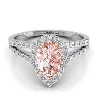 pear shaped diomond ringwith a split band | Halo Pear Shape Pink Diamond Engagement Ring with Split Shank