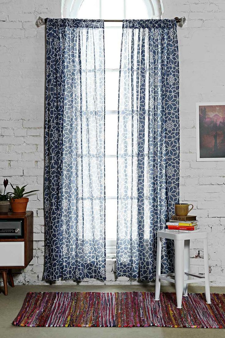 Star Tile Gauze Curtain in Navy - Urban Outfitters