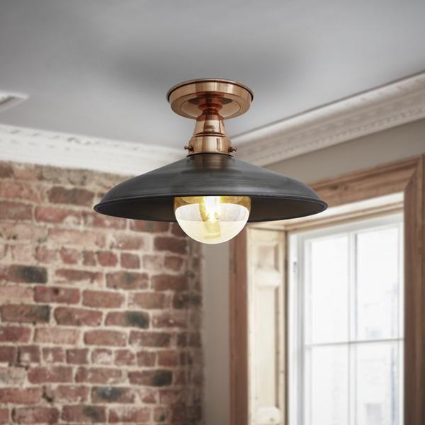 Barn stem flush mount 15 inch copper pewter low ceiling lightingsemi