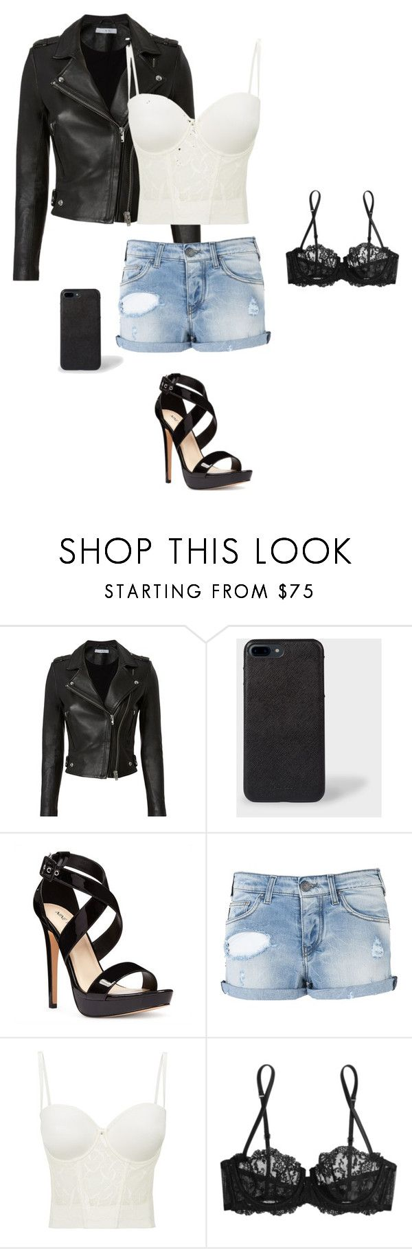 """""""Leather Jacket"""" by gone-girl ❤ liked on Polyvore featuring IRO, Nine West, Armani Jeans, Le Mystère and La Perla"""