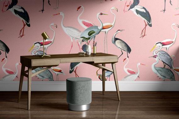 Removable Wallpaper Mural Crane Wallpaper Bird Wallpaper Etsy In 2021 Mural Wallpaper Self Adhesive Wallpaper Removable Wallpaper