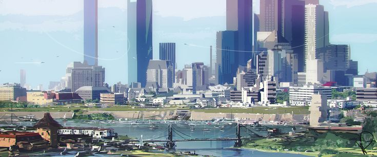 Cityscape stylized, Marcin Rubinkowski on ArtStation at https://www.artstation.com/artwork/AXq2y