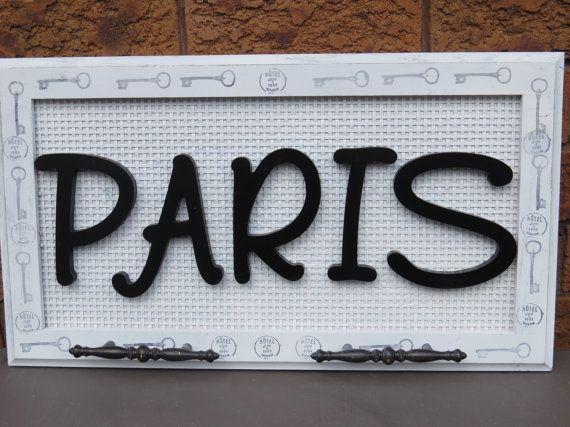 PARIS WALL DECOR/entrance sign/bathroom by kimburcreations on Etsy