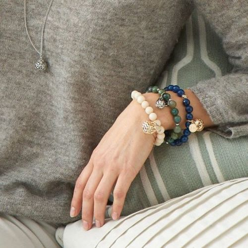 LISA-HOFFMAN-for-PARTYLITE-Blue-Bracelet-Gold-Charm-Frangrance-Jewelry-NIB