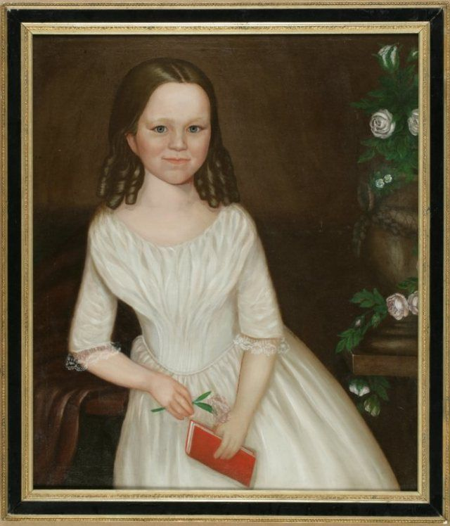 Portrait of Sarah Bennett inscribed on verso of canvas: attributed to Isaac A. Wetherby (American, 1819-1904) and Sarah Bennett, born 1844, daughter of Hon. A.H. Bennett, Davenport, Iowa, 11 years old when this was taken