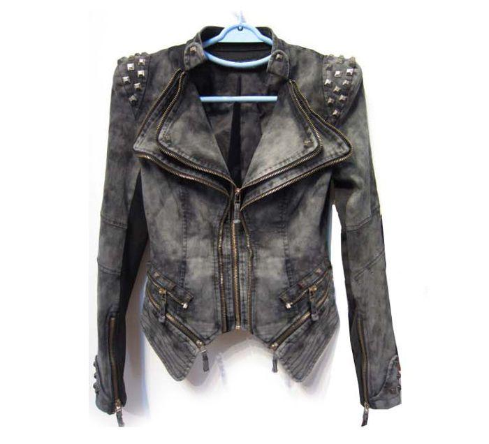 Stud Embellished Asymmetrical Hem Zippers Pockets Denim  #Denim #Fashion
