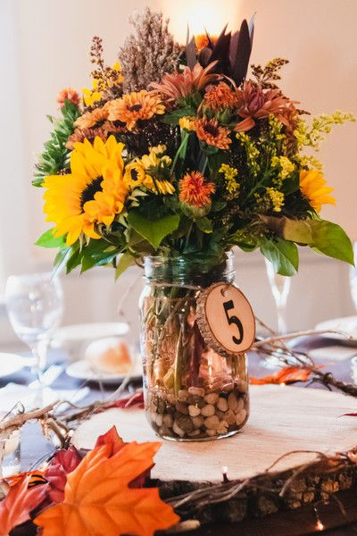 Fall November wedding centerpiece idea - natural, rustic centerpiece with sunflowers {Serena Star Wedding & Boudoir Photography}