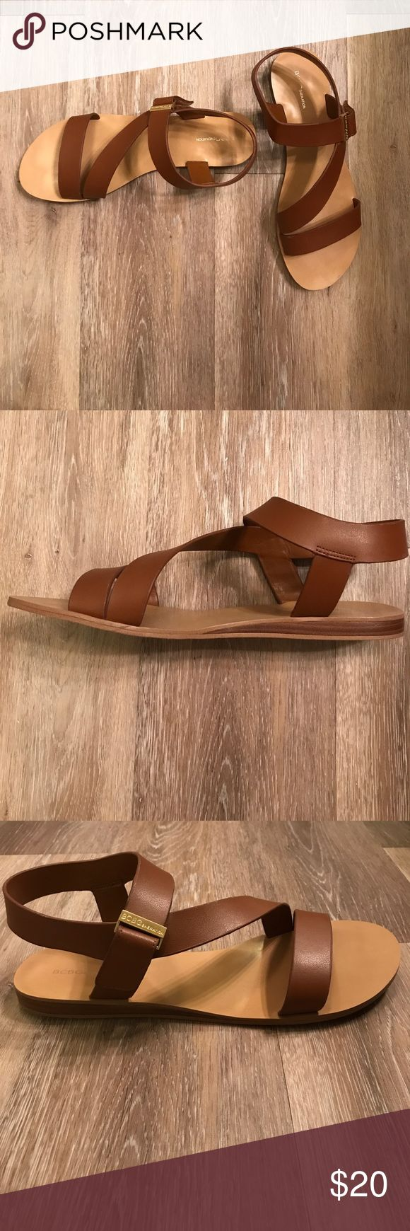 BCBGeneration strappy brown sandals Lightly worn BCBGeneration sandal with Velcro fastener to adjust for any size foot/ankle BCBGeneration Shoes Sandals