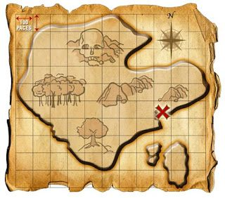 X , mapa del tesoro marcado.