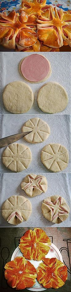 Beautiful Semmel like lRolls with ham in the middle. How to achieve step by step