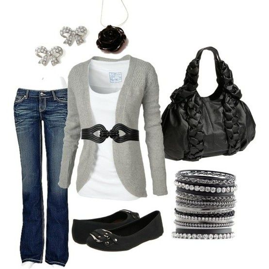 I love pretty much everything about this outfit!: Sweaters, Black Rose, Casual Friday, Cute Outfits, Black White, Bows Earrings, Grey, Casual Outfits, Belts