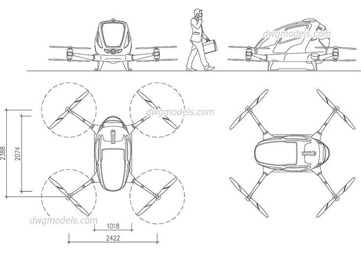Passenger Drone - CAD Blocks, free dwg file.