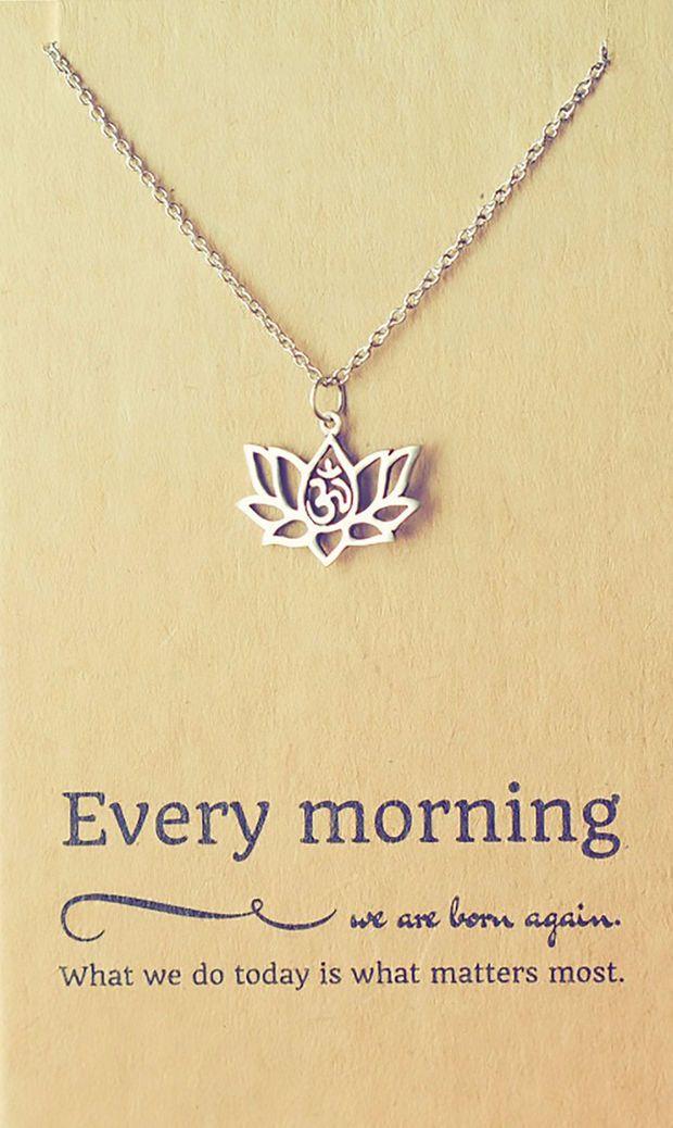 Amara Yoga Jewelry, Om Lotus Flower Necklace