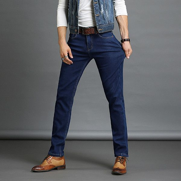 Drizzte Brand Winter Thermal Fleece Stretch Denim Quality Flannel Lined Jeans Jean Trousers Pants