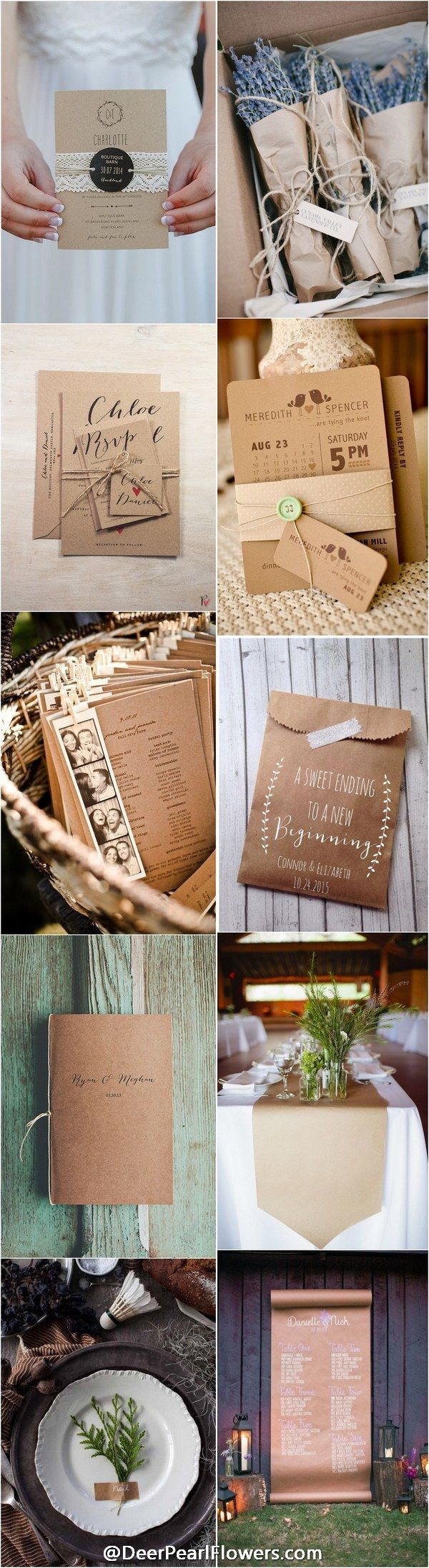rustic country wedding ideas- kraft paper wedding theme details / http://www.deerpearlflowers.com/rustic-country-kraft-paper-wedding-ideas/