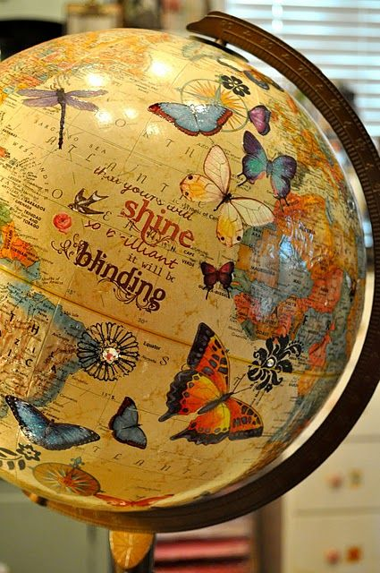 Embellished globe . . . very cool!!! Bebe'!!! Really cute idea to embellish this globe with butterflies!!!