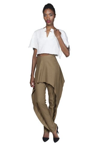 BAZZUL Rhodes skinny wool pant with ruffle overlay in camel | www.bazzul.com