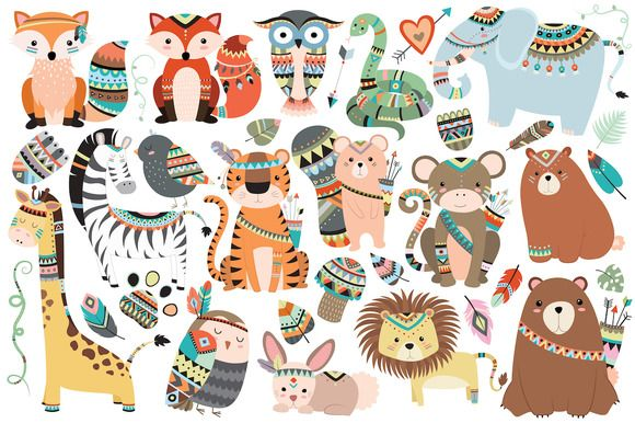 Tribal Animals 35 pc Clipart Set  by Kenna Sato Designs on @creativemarket