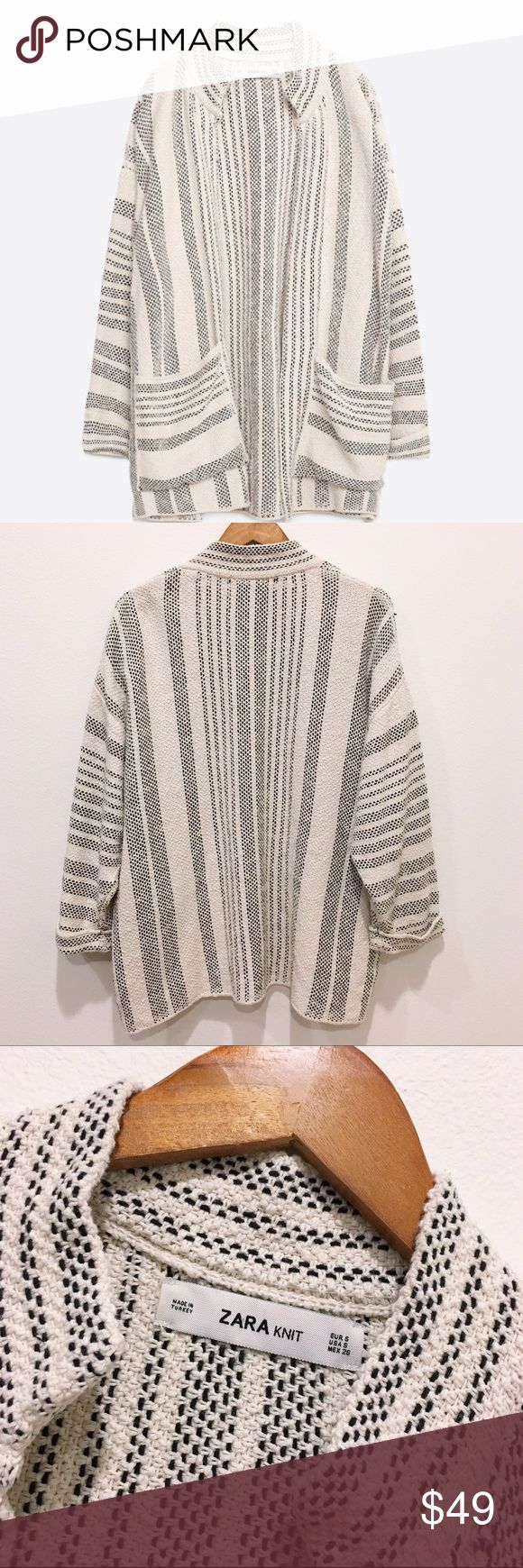 Zara chunky Oversized CardiganSz Small This is one of the most awesome cardigans I've seen to date! I just love the stitching that weaves through the Knit! It's super soft and comfy! Just in time for the cooler season! No closure Cardigan! 94% Cotton 6% Polyester Happy Poshing Ladies!💁🏾✨ Zara Sweaters Cardigans