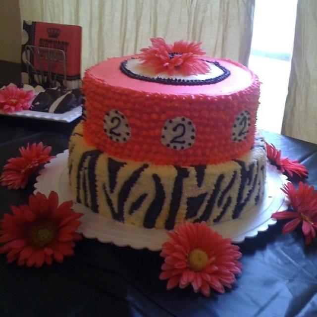 Hot Pink Zebra Princess Birthday Cake 2 Year Old Girl