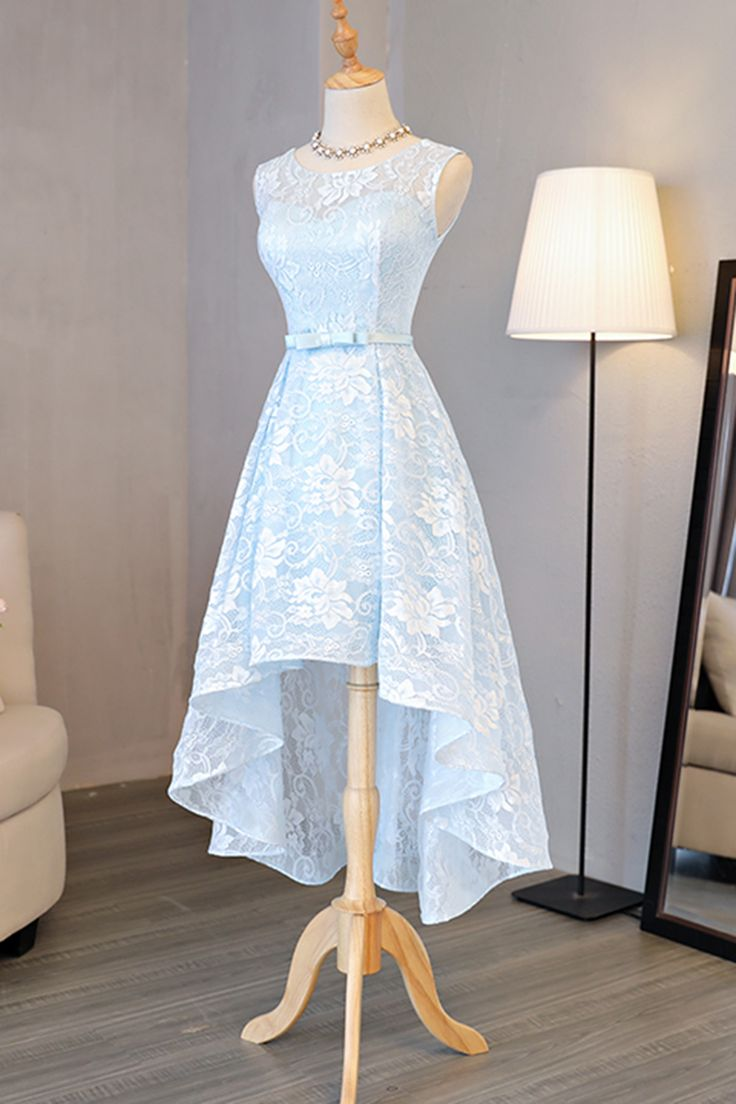 high-low homecoming dresses, lace homecoming dresses, light blue homecoming dresses, party dresses, prom dresses, formal dresses#SIMIBridal #homecomingdresses