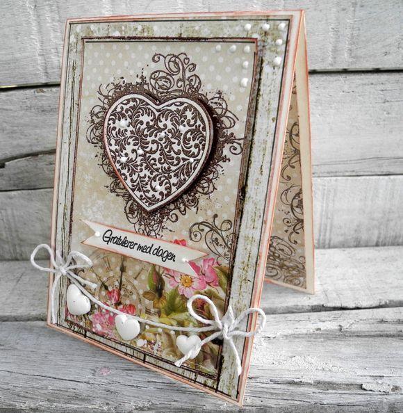 Stempelglede :: Design Team Blog: Handmade card. Rubber stamp used for this project: Min venn and Grunge Flourish Hearts stamp sets. 2015 © Pia Baunsgaard